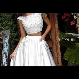 White Sherri hill prom dress